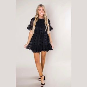 Pom Pom Black Dress